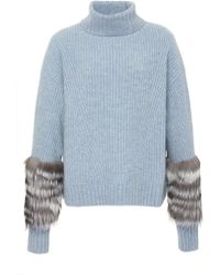 Sally Lapointe - Exclusive Fur And Cashmere Sweater - Lyst