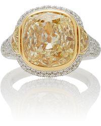 Martin Katz - One-of-a-kind Light Yellow Cushion Diamond Ring - Lyst