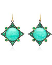 Arman Sarkisyan - 22k Gold, Chrysoprase And Tsavorite Earrings - Lyst