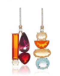 Irene Neuwirth - One-of-a-kind 18k Gold Pink Tourmaline And Fire Opal Mismatch Charm Earrings - Lyst