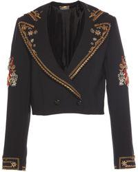Alberta Ferretti - Cropped Embroidered Jacket - Lyst
