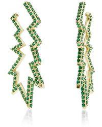Sabine G - Green Topaz Ziggle Deflated Hoop Earring - Lyst