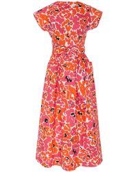 Isa Arfen - Floral-print Cotton Midi Dress - Lyst