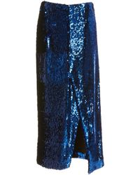 Sally Lapointe - Asymmetric Sequined Stretch-chiffon Pencil Skirt - Lyst
