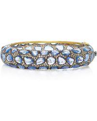Sanjay Kasliwal - 14k Gold, Silver, Sapphire And Diamond Bangle - Lyst