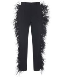 Dolce & Gabbana Feather-trimmed Wool-blend Trousers
