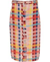 Carolina K - Joni Button Front Cotton-blend Skirt - Lyst