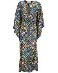 218db44b98 Lyst - Thierry Colson Talitha Lace Print Linen Kaftan in Blue
