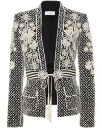 Zuhair Murad - Embroidered Belted Crepe Jacket - Lyst
