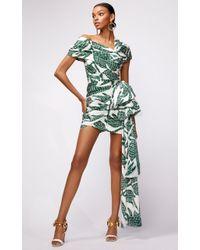 7c71da16 Oscar de la Renta - Off Shoulder Abstract Mini Dress With Drape - Lyst