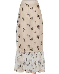 Rahul Mishra - Bouquet Embroidered Sheer Chiffon Skirt - Lyst