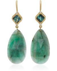 Jamie Wolf | 18k Gold, Emerald, And Diamond Mosaic Green Tourmaline Earrings | Lyst
