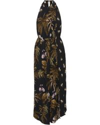Vince - Mixed Tropical Garden Printed Crepe Dress - Lyst