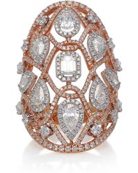 Sara Weinstock - Reverie Couture Two Tone Rose And White Gold White Diamond Oval Ring - Lyst