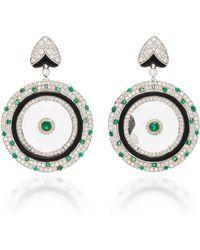 Sanjay Kasliwal - 18k Gold Crystal, Emerald And Diamond Earrings - Lyst