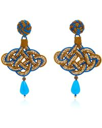 Anna E Alex - Woven Stone, Silver-plated Earrings - Lyst