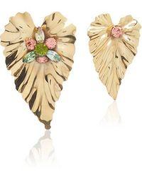 Rodarte | Gold Stud Leaf Earrings With Swarovski Crystal Details | Lyst