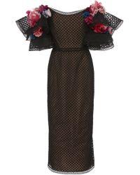 Marchesa - Off Shoulder Embroidered Grid Tulle Cocktail Dress - Lyst