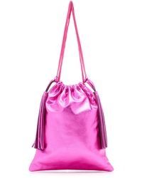 The Attico Metallic Leather Pouch - Pink