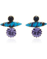 Nicole Romano - 18k Gold-plated Stacked Crystal Earrings - Lyst