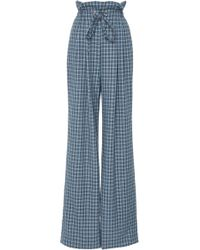 Rodarte - Plaid Wide-leg Drawstring Pant - Lyst