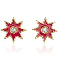 Colette - Star 18k White Gold, Enamel And Diamond Earrings - Lyst