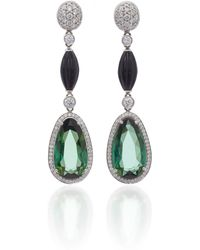 Goshwara - 18k White Gold, Tourmaline And Diamond Earrings - Lyst