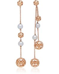 Colette - Motif Mismatched 18k Rose Gold And Japanese Pearl Drop Earrings - Lyst