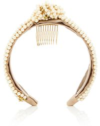 Jennifer Behr - Sirene Knotted Crystal And Faux-pearl Headband - Lyst