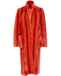 Sally Lapointe - Striped Faux Fur Tailored Coat - Lyst