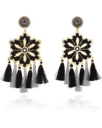 Mercedes Salazar - Hibiscus Tasseled, Gold-plated Crystal Earrings - Lyst