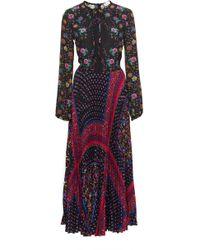RED Valentino - Pleated Floral-print Chiffon Dress - Lyst