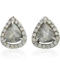 Nina Runsdorf - Rough Pearshape Diamond 18k Gold Studs - Lyst