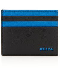 bccd8b5f43c7 Prada Two Tone Saffiano Leather Wallet in Blue for Men - Lyst