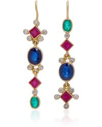 Renee Lewis - 18k Gold, Ruby, Sapphire And Diamond Earrings - Lyst