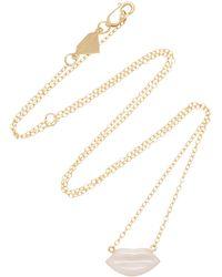 Alison Lou - 14k Gold Enamel Pink Lip Necklace - Lyst