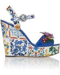 Dolce & Gabbana - Embellished Patent-leather Platform Sandals - Lyst
