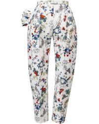 ANOUKI - Textured White Multicolor Flower Print Cropped Pants - Lyst
