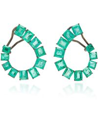 Nina Runsdorf - M'o Exclusive: One-of-a-kind Emerald Spiral Pear-shaped Earrings - Lyst