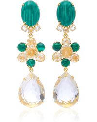 Bounkit - Malachite, And Quartz 14k Gold-plated Brass Fish Hook Earrings - Lyst