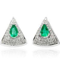 Hueb | Spectrum 18k White Gold, Diamond And Emerald Earrings | Lyst