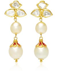Sanjay Kasliwal | 22k Gold, Diamond And Pearl Earrings | Lyst