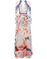 Zuhair Murad - Pale Dogwood Fresque Embellished Silk Dress - Lyst