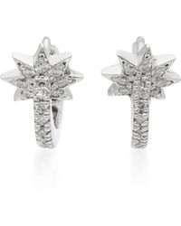 Colette | Mini Star Huggie 18k White Gold Diamond Earrings | Lyst