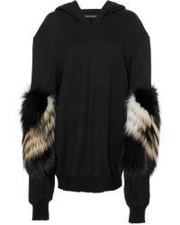 Sally Lapointe - Cashmere Wool Sweatshirt W/ Chevron Fox Sleeves - Lyst