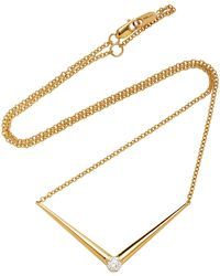 Melissa Kaye - Aria V Yellow Gold Necklace - Lyst