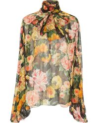 Dolce & Gabbana - Sheer Floral Chiffon Pussybow Blouse - Lyst