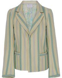 Luisa Beccaria - Striped Cotton Blend Blazer - Lyst