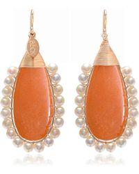 Lolita 14K Gold Adventurine and Pearl Drop Earrings Beck Jewels EqLiokNsoY