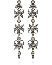 Montse Esteve - Oxidized Silver, 18k Gold And Diamond Earrings - Lyst